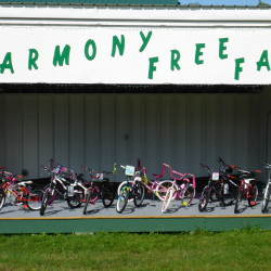 Some of twenty bikes to be given away at this year's Harmony Labor Day Free Fair.