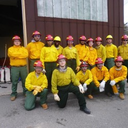 Forest rangers and firefighters of the future graduated recently from a Bangor-based program at Penobscot Job Corps Center, the fourth class to make it through the Hot Shot program qualifying them to help rangers battle blazes in Maine. Some will complete advanced classes, with the goal of obtaining the Red Card which will qualify them for national deployment. Members of the Hot Shots graduating class are (front row, from left) Justin Mota, Kenneth Bennett, Joshua Desrosiers, Sean Babineau, Dominick Rodriguez, and (back row) Austyn Moody, Anthony Fernandes, Diana Gil, Ramadhani Mwielo, Dakar De La Rosa, Marie Francois, Jake Anthony-Greene, Ben Ladd, Tyler Shanahan and Darien Lane.