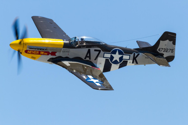"Pilot Mark Murphy will return to OHTM flying his P-51 Mustang, ""Never Miss."""