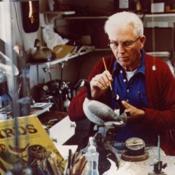 Wendell Gilley in his Southwest Harbor workshop circa 1970