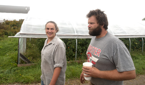 Mike Bahner and his wife, Christa, grow certified organic vegetables at Bahner Farm in Belmont. They feel that the organic certification is not a perfect system, but it establishes standards and helps young farmers market their produce. This is the Bahners' sixth season of growing vegetables on their own farm.