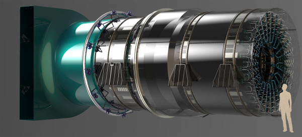 Peregrine Turbine Technologies is developing a 6-megawatt generator that uses carbon dioxide in a supercritical state to power a turbine unit, seen in a digital rendering at scale with a person of average height. David Stapp, the company's president, said the 6-megawatt generator could help fill a void in New England, where older power generators are being retired and access to fuel sources like natural gas can be strained at times of peak usage.