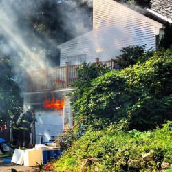 Fire rips through two-bay garage in Gardiner