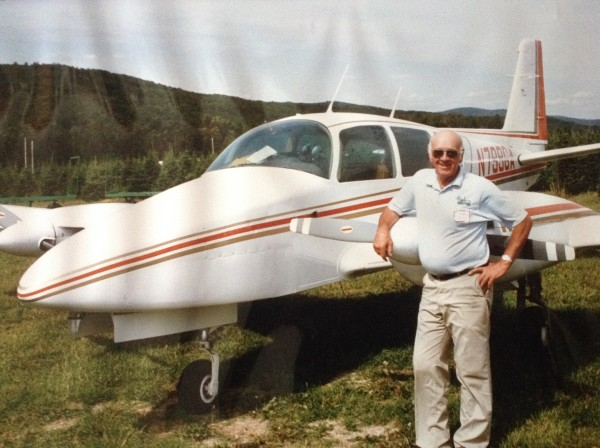 Doug Kell Sr. of Ellsworth, shown with the Grumman America Cougar twin engine airplane he recently donated to Down East Emergency Medicine Institute.