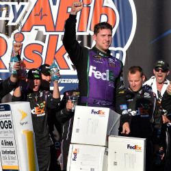 Denny Hamlin wins Ford 400; Jimmie Johnson claims 6th Sprint Cup title