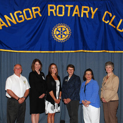 In June 2015 the Rotary Club of Bangor awarded a total of $10,000 in grants to three area nonprofits.  L-R: Rotarian Mike Sturdee, Heidi LeBlanc of Penquis, Cat Hamel of the Boys and Girls Club of Bangor, Cindy Whitney of the University of Maine Center on Aging RSVP, Rotarian Alicia Nichols, Rotarian Susan Jonason.