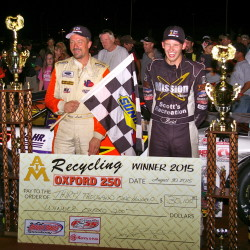 Defending champ Travis Benjamin holds off Fort Kent's Austin Theriault to win Oxford 250