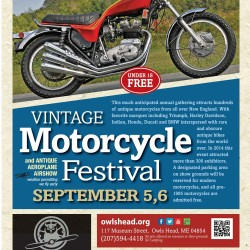 Rare vintage motorcycles from all over New England will roll into Owls Head on Saturday, September 5 and Sunday, September 6 for the Owls Head Transportation Museum's Vintage Motorcycle Festival.