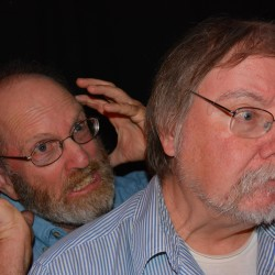 "Tim Breen (left) acts out customer Dave Pearson's (right) thoughts in Dexter Wayside Theatre's Variety Show skit ""Check It Out"" on Sat. Sept. 26 at 7 pm"