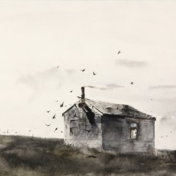 "Watercolor and ink on paper painting by Andrew Wyeth entitled ""Bert's Cabin"" that sold for 138,000"
