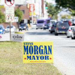 Political signs for Steve Morgan and Ben Chin dot the median on Main Street in Lewiston. The two are joined by Luke Jensen, Robert Macdonald and Charles Soule in a run for mayor of Lewiston; however, signs for Jensen, Macdonald and Soule are not as numerous.