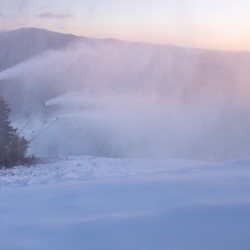 Snow guns laid down a fresh layer of powder Sunday morning on Locke Mountain at Sunday River Ski Resort in Newry. About 150 snow guns worked over the weekend in preparation of the opening of the 2015-2016 season Monday.