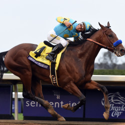 Victor Espinoza aboard American Pharoah wins the $5 million Breeders' Cup Classic at Keeneland Race Course in Lexington, Kentucky, on Saturday.