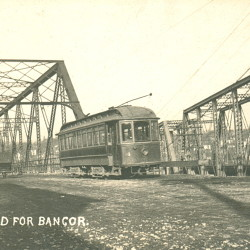 Trolley getting ready to cross the Bangor-Brewer bridge.
