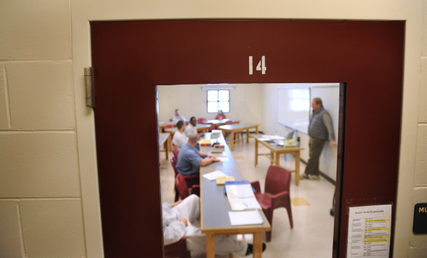 Inmates participate in a history class at the Maine State Prison in December 2010.