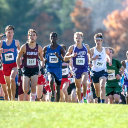 Messalonskee's Zachariah Hoyle, Gorham's Jesse Southard, Lewiston's Osman Doorow, Hampden's Paul Casavant, Westbrook's Joshua Lombardo and Hampden's Wyatt Lord attempt to get ealry position at the beginning of Saturday's Class A state championship cross country meet at Twin Brook Recreation Area in Cumberland.