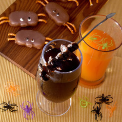 Witch's Potion (left) and Floating Spiders, served with Reese's Spiders.