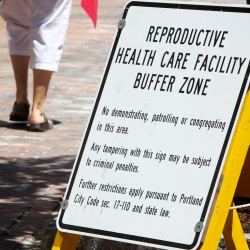 File photo of Planned Parenthood's controversial buffer zone sign in Portland.