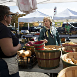 Democratic presidential candidate Hillary Clinton talks with a vendor about organic farm certification at a farmers market in Davenport, Iowa.