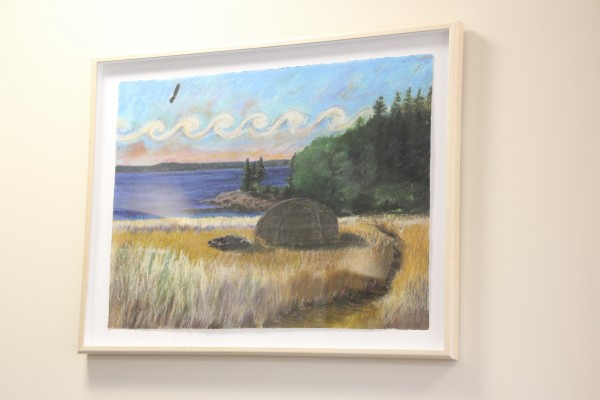This painting by artist Jude Valentine, which has an eagle in the sky and represents the Passamaquoddy, is seen Tuesday at the Washington County Courthouse in Machias.
