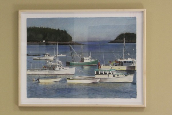 This painting by artist Jude Valentine, which shows boats in Cutler and represents Washington County's lobster fishing heritage, is seen Tuesday at the Washington County Courthouse in Machias.