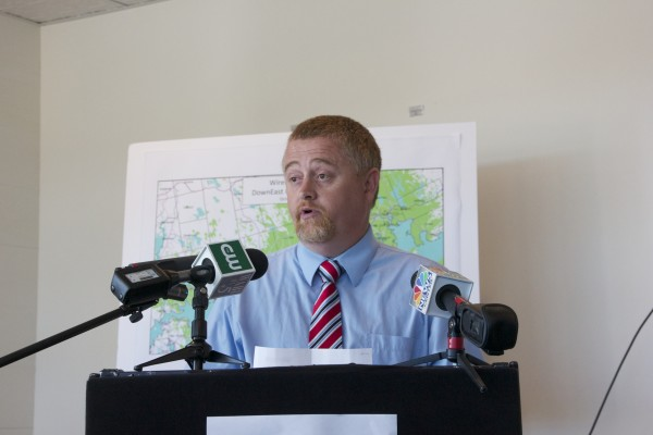 Chris Gardner, chairman of the Washington Cunty commissioners and executive director of the Eastport Port Authority, speaks about the importance of the improved wireless project to residents of Washington County on Thursday in Machias.