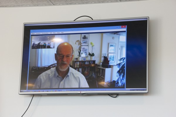 David Vail, economics professor at Bowdoin College, attends the news conference by video on Thursday in Machias. He discussed the economic importance of better cellphone coverage in Down East Maine.