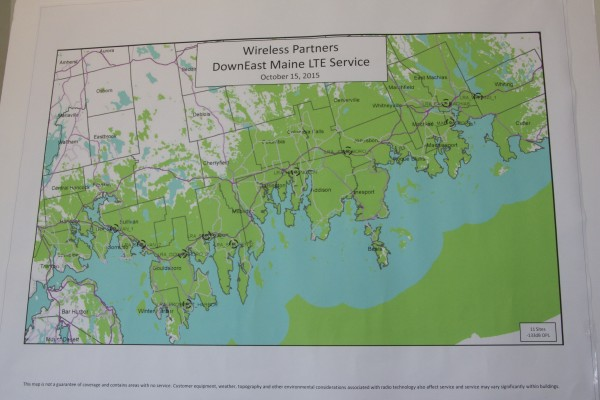 This map shows where Wireless Partners installed 32 new sites of coverage in Down East Maine. It was on display at a news conference Thursday at Helen's Restaurant in Machias.