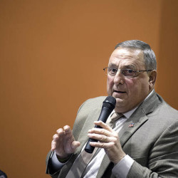 Gov. Paul LePage answers a question from the audience during the town hall meeting on Tuesday at The Green Ladle in Lewiston.