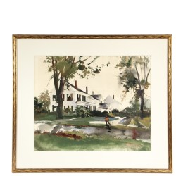 Tempera & watercolor painting by Andrew Newell Wyeth depicting 'The Mall' in Thomaston, one of many fine paintings to be sold at Thomaston Place Auction Galleries on Nov. 14 & 15