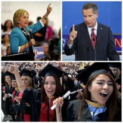 Clockwise from top left: Democratic presidential candidate Hillary Clinton; Republican candidate John Kasich; and Fresno State University graduates in 2012.