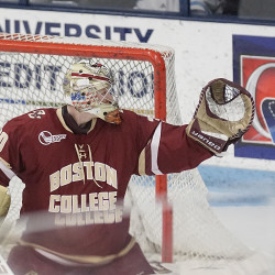 Senior right wing scores three goals as Boston College routs Maine hockey team