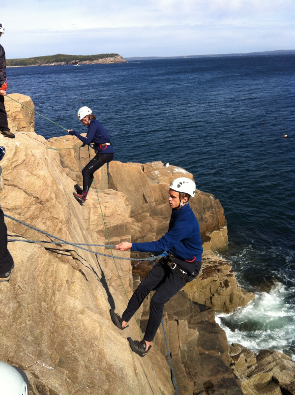 Students from nine Maine high school outing clubs learn rock climbing skills at Otter Cliffs in Acadia National Park during the annual Teens to Trails Acadia Fall Rendezvous on Columbus Day weekend on Mount Desert Island. Acadia Mountain Guides led several climbing trips with the students that weekend.