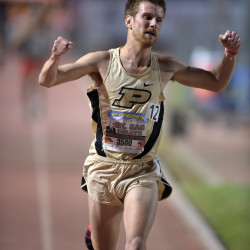 Matt McClintock of Purdue celebrates after winning the invitational 10,000m in 28:54.77 during the 57th Mt. San Antonio College Relays at Hilmer Lodge Stadium in Walnut, California, in this April 2015 file photo.