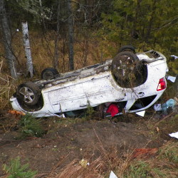 A 41-year-old Chapman woman was seriously injured Tuesday when her vehicle went off Grendell Road on a curve and overturned, according to Maine State Police.