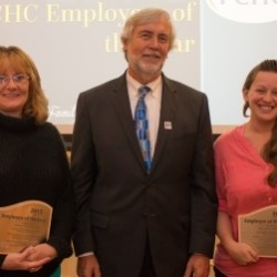 Marie Brown, PCHC Clinical Employee of the Year (Left) featured with Alta Worcester, PCHC  Non-Clinical Employee of the Year (Right), and  Ken Schmidt, MPA, President and CEO (Center).