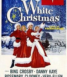 "This poster for the 1954 film,""White Christmas,"" shows Rosemary Clooney (second from left) wearing a red dress designed by Edith Head. The dress will be on display Dec. 4-5 at Penobscot Marine Museum."
