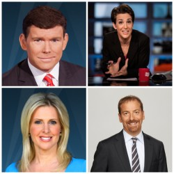 From top right, Rachel Maddow and Chuck Todd with MSNBC, and Cheryl Casone and Bret Baier with Fox News.