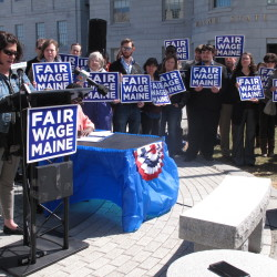 Karen Johnson, a longtime restaurant server from Lewiston, speaks during a press conference to announce a referendum campaign to increase Maine's minimum wage to $12 per hour in 2020 and index it to the consumer price index thereafter.