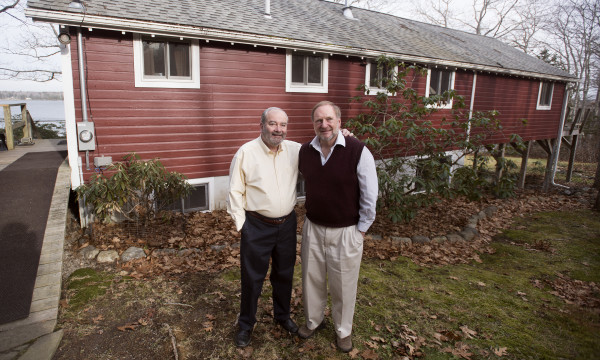 Doug Kimmel (right) with his husband, Ron Schwizer, at their Hancock home.  Kimmel and Schwizer met in the late 1960s and with the recent change in Maine law, after 44 years together, they were legally married.