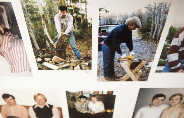 Pictures of Doug Kimmel (right) and Ron Schwizer splitting firewood in 1981, when they bought their Hancock home, are among the couple's family photos. Kimmel and Schwizer met in the late 1960s and with the recent change in Maine law, after 44 years together, they were legally married.