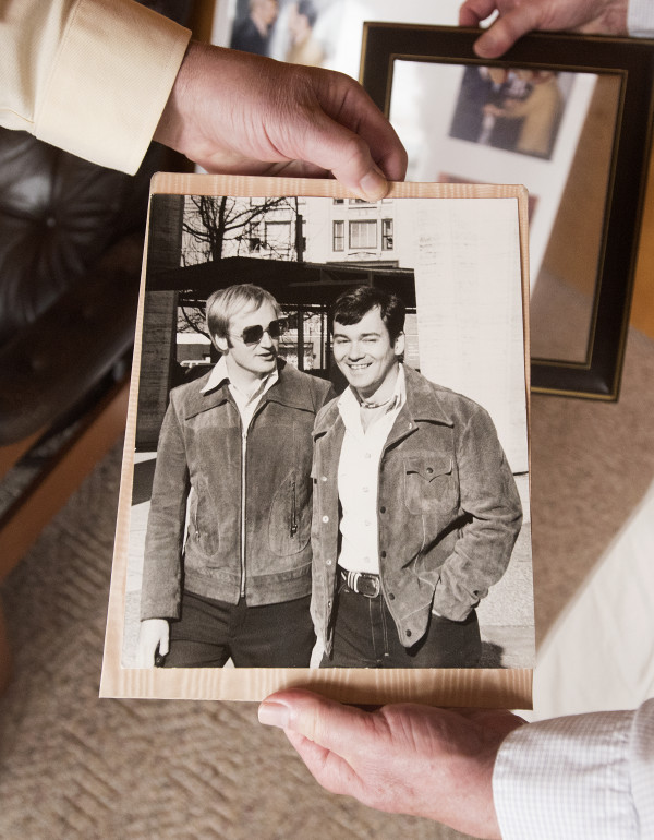 Among Doug Kimmel (left) and Ron Schwizer's family photos are pictures of the couple in New York City in 1971, where they lived before moving to Maine. Kimmel and Schwizer met in the late 1960s and with the recent change in Maine law, after 44 years together, they were legally married.