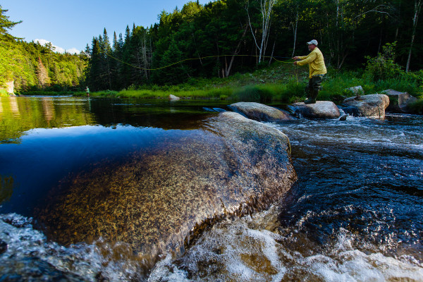 Joe Dembeck of Skowhegan casts a fly into Cold Stream in Somerset County during the summer of 2012, the year that The Trust for Public Land was awarded awarded $1.5 million in Land for Maine Future funds to help purchase and conserve the stream and more than 8,000 acres of surrounding woodland.