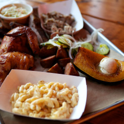 Salvage BBQ in Portland, including chicken, ribs, pork, squash and cole slaw.