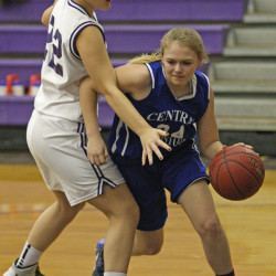 Greater Houlton Christian Academy girls winning with seven players