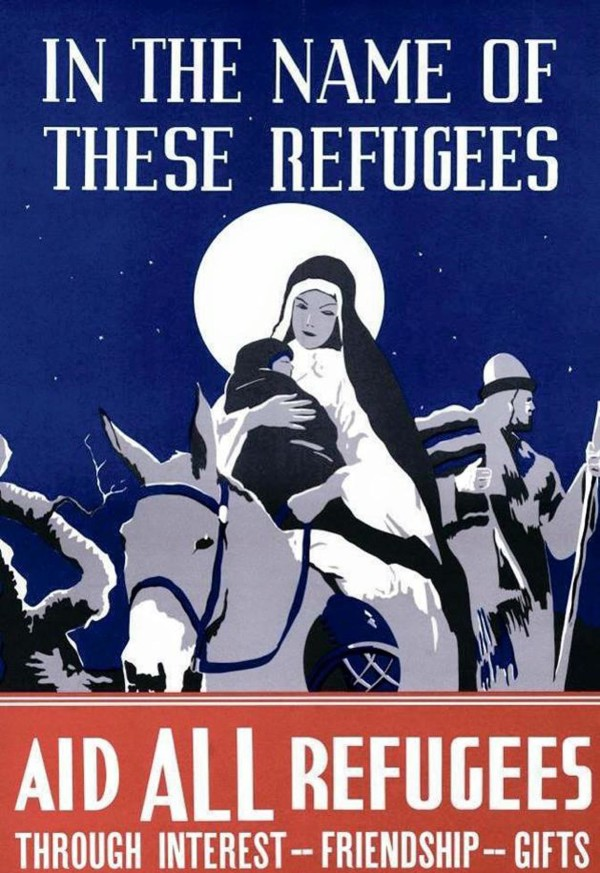 A poster created by the Episcopal Diocese of Southern Ohio for the 1938 Christmas season encouraged Americans to welcome Jewish refugees from Germany and Austria.