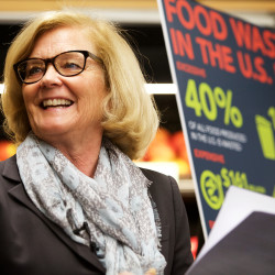 Rep. Chellie PIngree speaks in Portland on Monday about proposed new new legislation that seeks to reduce food waste in the United States.