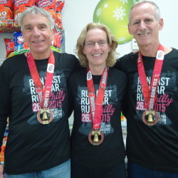 Rich Hoppe (left) of Portage, Kim Wright (center) of Mapleton and Don Audibert of Fort Kent were the Aroostook County participants in the Philadelphia Marathon on Nov. 22.