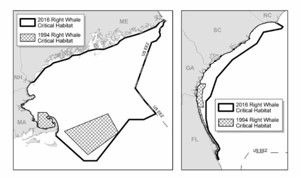 These graphics provided by the National Oceanic and Atmospheric Administration compare 1994 critical habitat designations for right whales in the Atlantic Ocean to new protection areas taking effect near the end of February 2016.