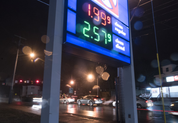 Gas prices as seen in Bangor in this December 2015 BDN file photo. Gas prices on Sunday continue to fall closer to the $2 mark.